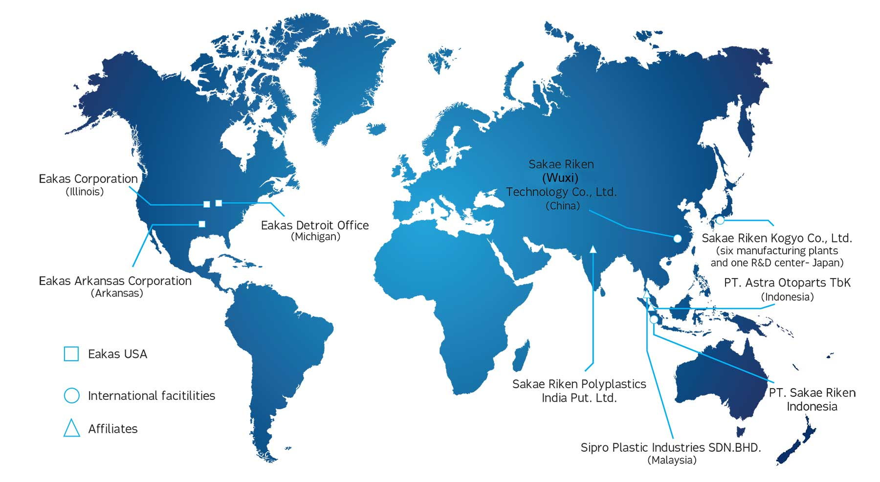 Eakas Corporation locations worldwide
